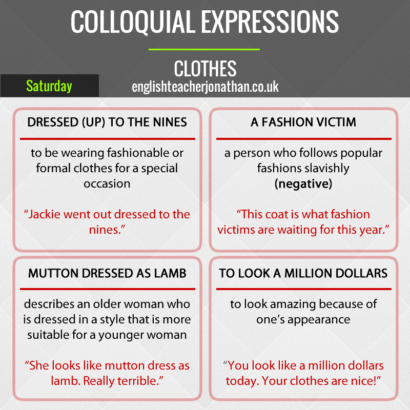 Colloquial expressions on Saturday