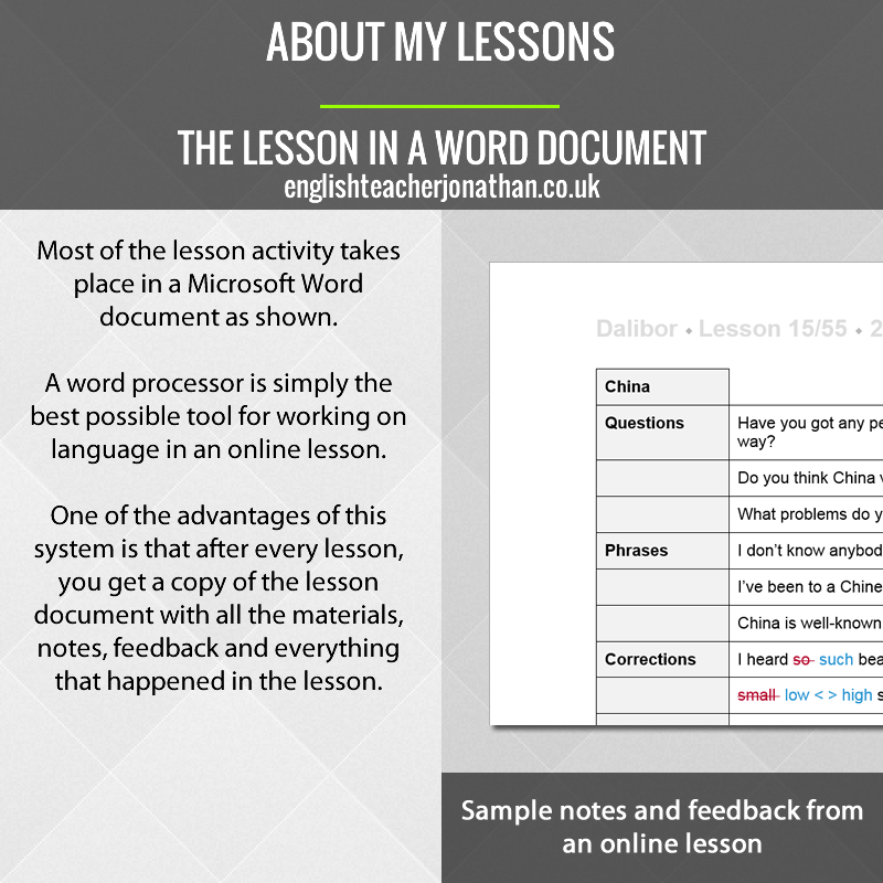 The lesson in a Word document