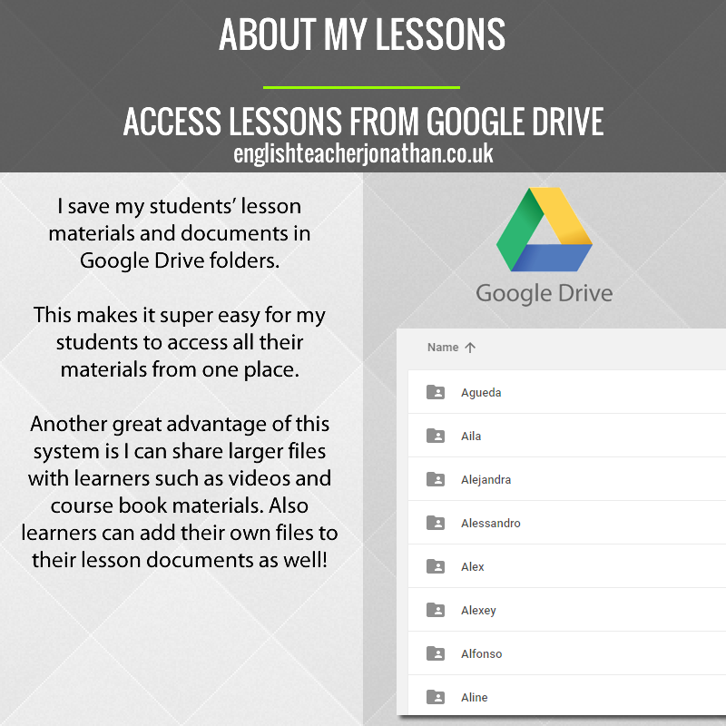 Access lessons from Google Drive